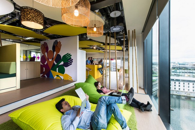the interior of offices for google are some most innovative designs in world can you imagine having an oversized bean bag to lounge on while office slides