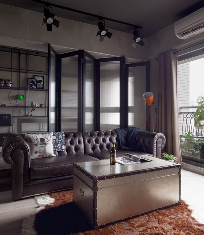 apartement livingroom interior amazing bachelor pad furnitures | Industrial Bachelor Pad by House Design Studio