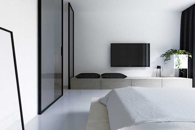 Simple countertop and a gray office chair so that you dont get distracted and upstairs you can find the two bedrooms which area also highly minimalist